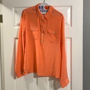Orange/peachy colored button up